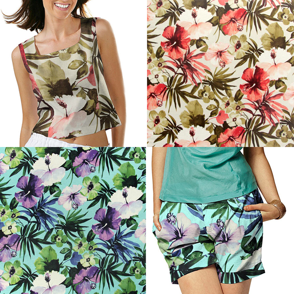 Tissu mi-lin à motif floral