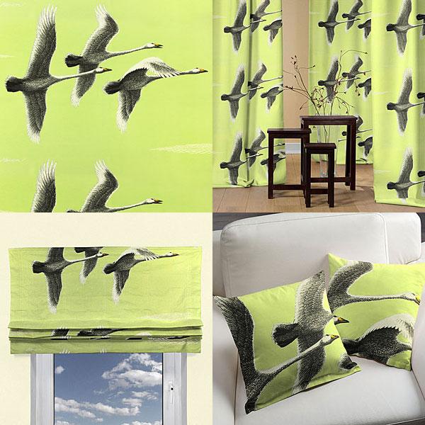 Tecidos decorativos com gansos selvagens