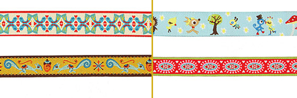 Woven ribbons with children designs