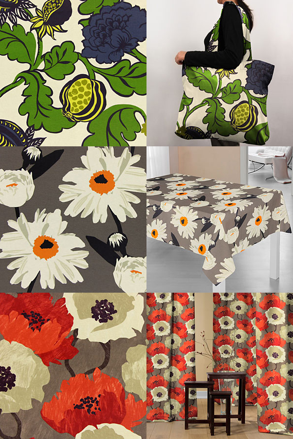 Tecidos decorativos com grandes padrões.