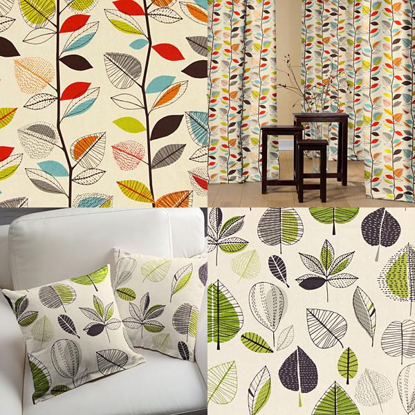 Tecidos decorativos com motivos de folhas