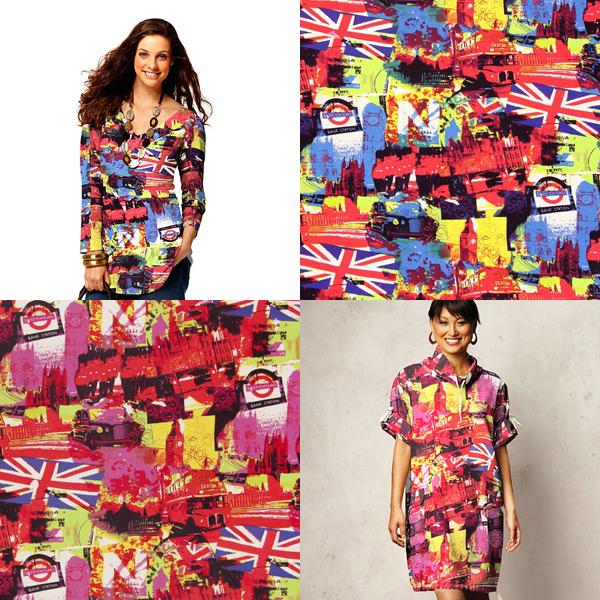 Tessuti jersey con motivi londinesi