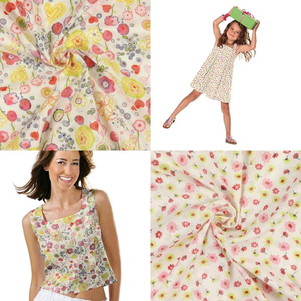 Tecido de algodão com motivos florais