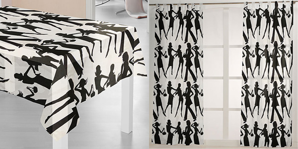 Decoration fabric with female silhouettes