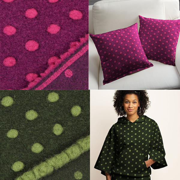 Wool fabric with studs