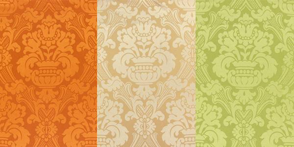 Tkaniny dekoracyjne z ornamentowym wzorem
