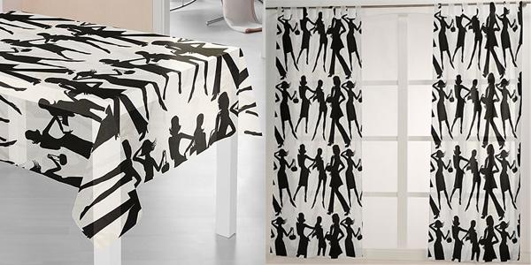 Tecido decorativo com silhuetas de mulheres
