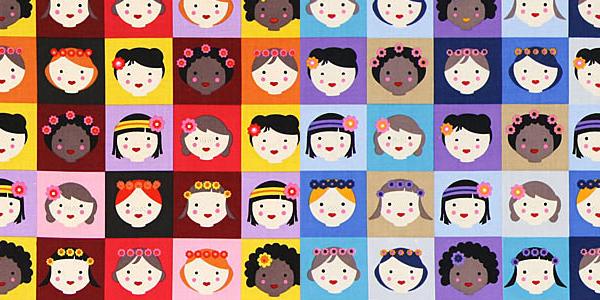 Tissu coton avec enfants