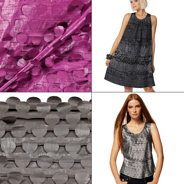apparel fabrics with fluttering appliques
