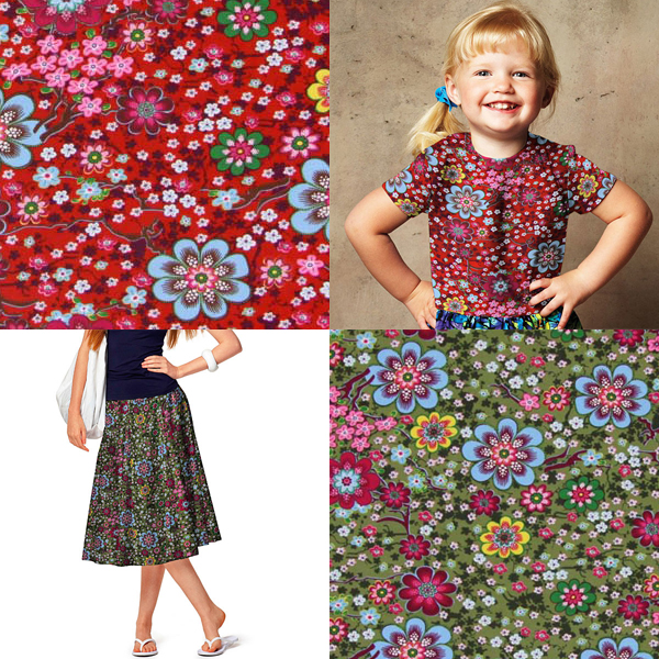 Jersey fabrics with flower designs