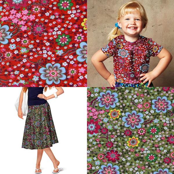 Tessuto jersey con motivi floreali