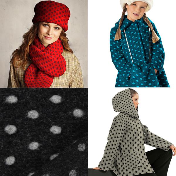 Tecidos de lã com borbotos