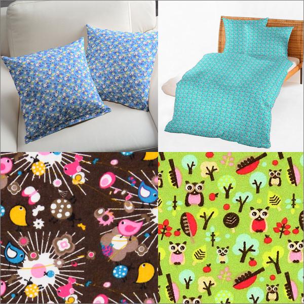 Tkaniny flanelowe w czteru różnych kombinacjach kolorystycznych