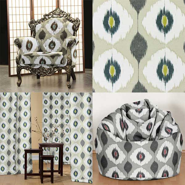 Decorator fabrics with Ikat patterns