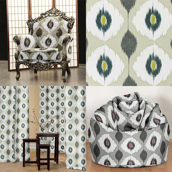 Tecidos decorativos com padrões Ikat