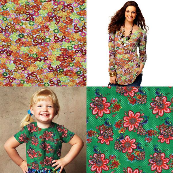 Telas para jersey con motivos florales