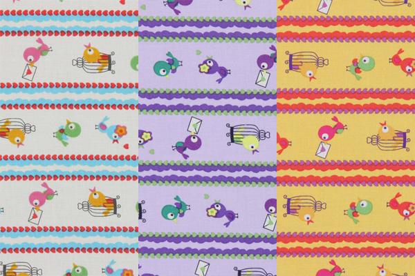 Cotton fabrics with birds