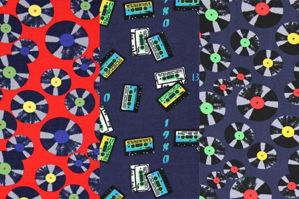 Tissus jersey à motifs cassettes et disques
