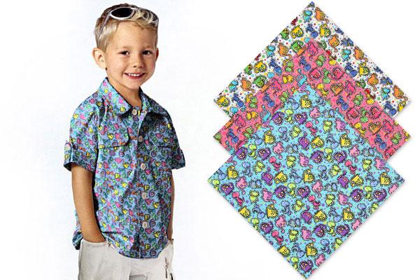 Children's fabrics with dinosaurs