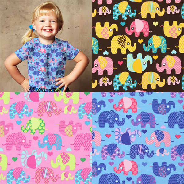 Jersey fabrics with elephants