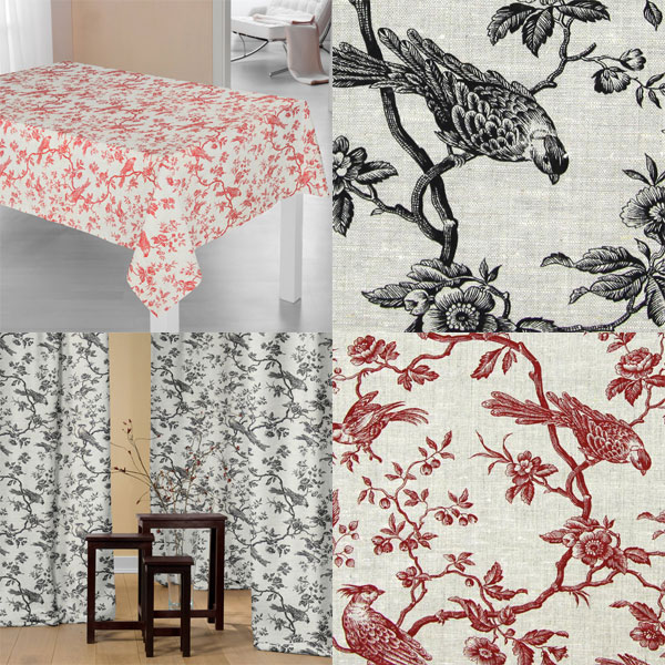 Decoration fabrics with birds