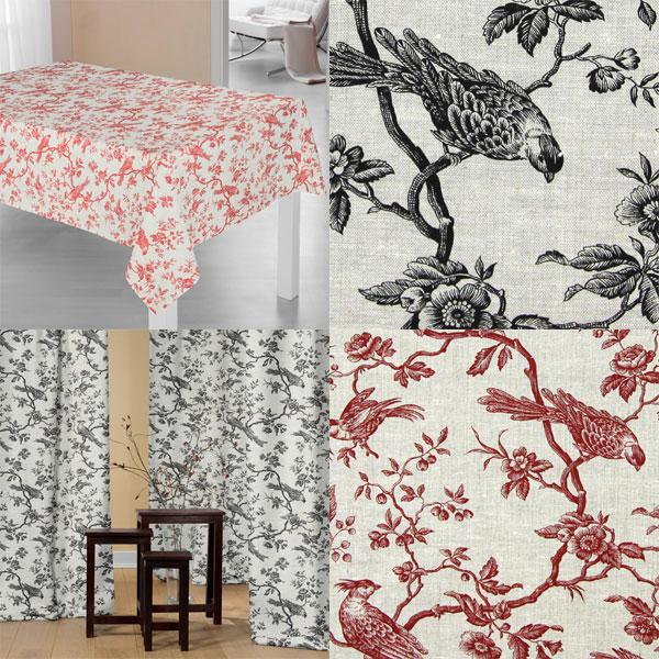 Tecidos decorativos com pássaros