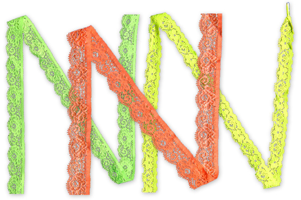 Rašlová krajka v neonových barvách