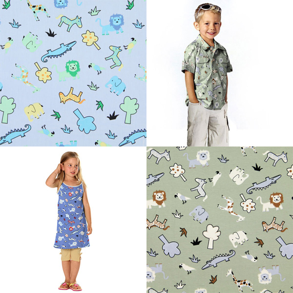 Cotton fabrics with zoo animals