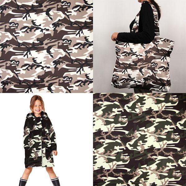 Vettä hylkiviä kankaita camouflage-naamiointi-kuviolla
