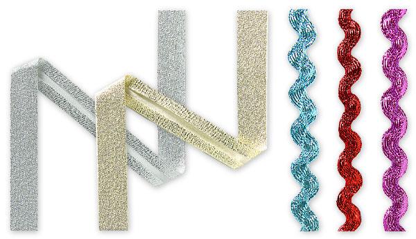 Schrägbänder und Zackenlitze mit Lurex