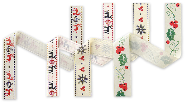 Christmassy woven ribbons