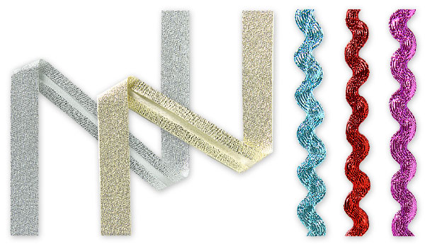 Snedband och sicksackband med lurex