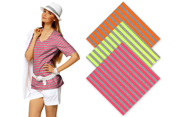 Jersey fabrics with neon stripes