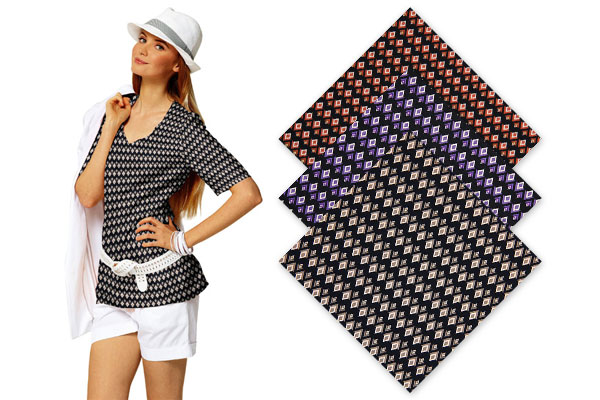 Jersey de viscose com padrões