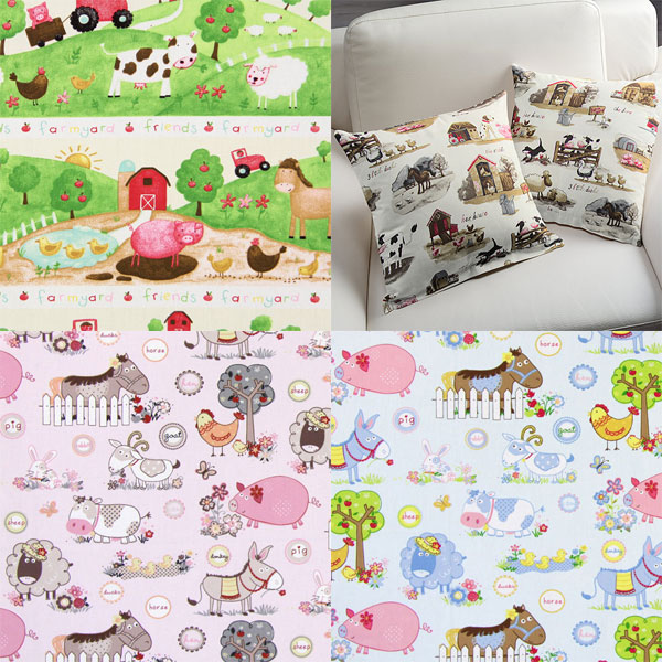 Decoration fabrics for children with animal designs