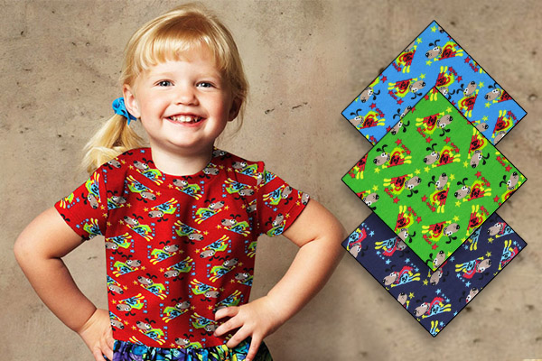 Jersey fabrics with superhero designs