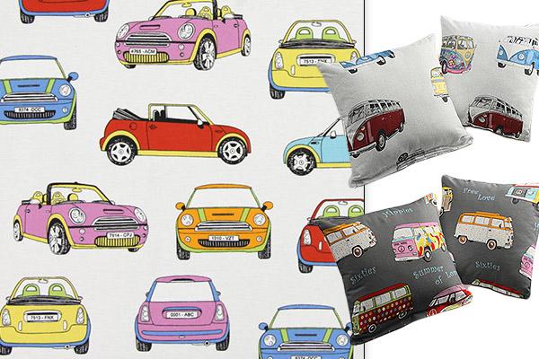 Tecidos decorativos com veículos