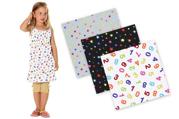 Tecidos de jersey com bolinhas, estrelas e números