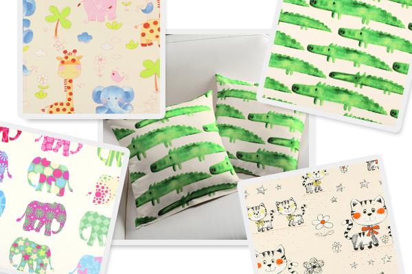 Tecidos de decoração com desenhos de animais