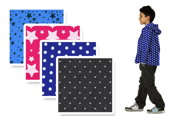 Sweatshirt fabrics with stars and dots
