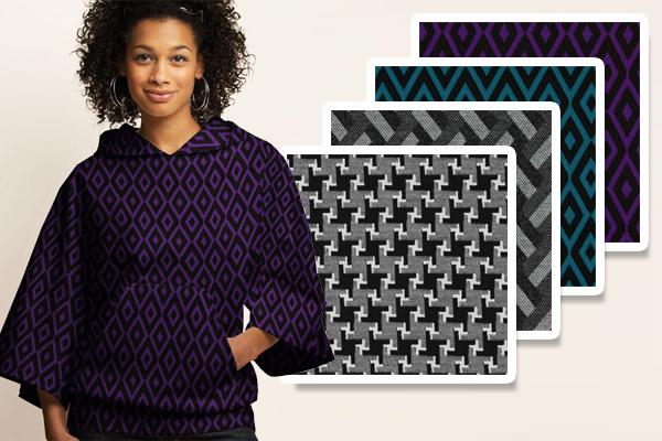 Jerseykankaat graafisilla kuvioilla
