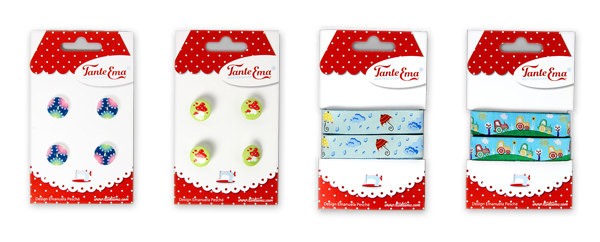Fitas e botões na embalagem económica da Tante Ema
