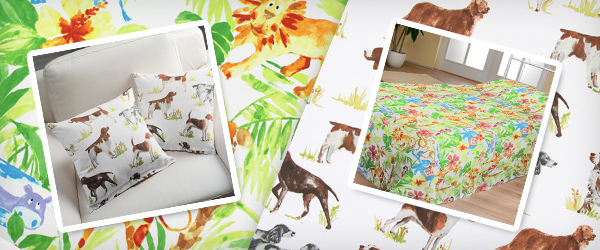 Furnishing fabrics with animal motifs