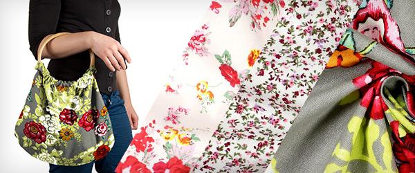 Tissus en coton avec motifs de fleurs
