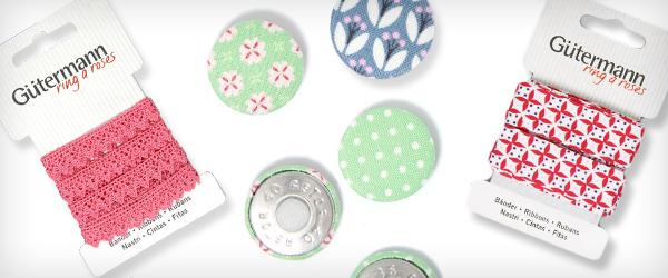 Taśmy, bordiury i guziki z kolekcji Ring a Roses od firmy Gütermann