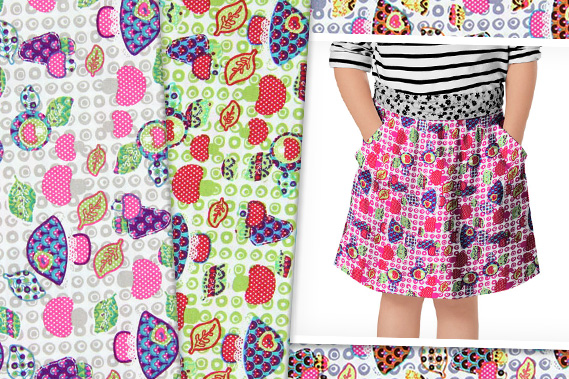Cotton fabrics with mushrooms