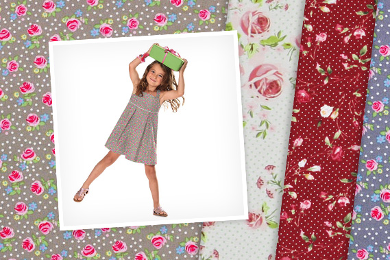 Telas de algodón con diseños de rosas
