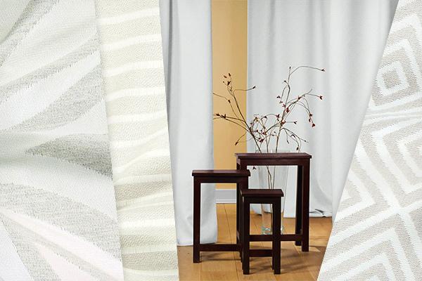 Bílé žakárové látky pro dekorace