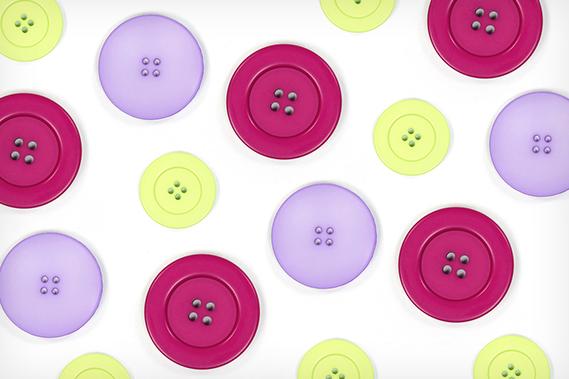 Botões de plástico