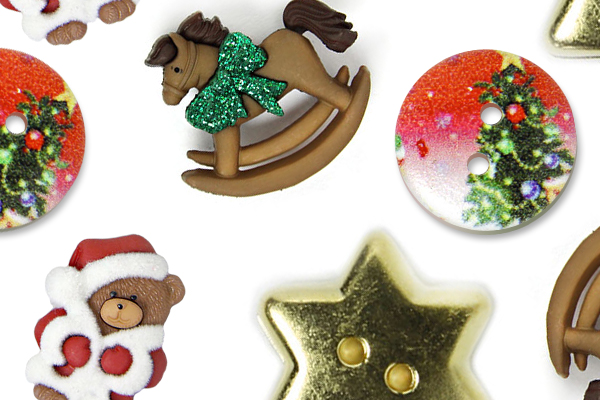 Christmas-themed buttons